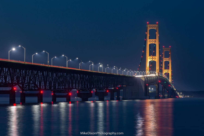 Mackinac Bridge at Night by Mike Dixon