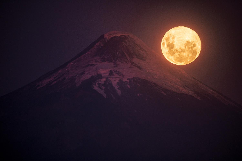 Super Moon and The Osorno Volcano by Benjamin Romero