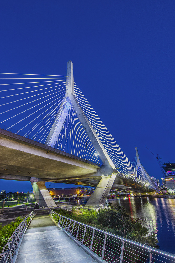 Zakim Bridge Bluest Hour by Steve Shannon