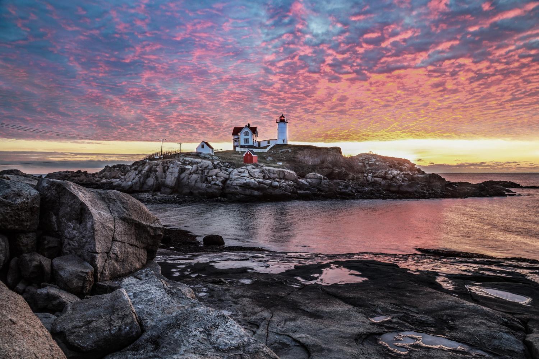Nubble Light Sunrise by Steve Shannon
