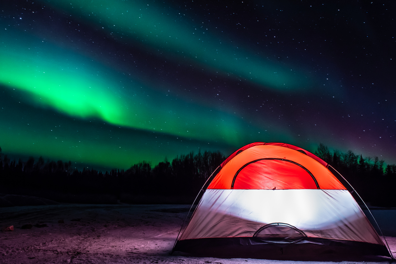 Camping under the dancing lights by Cameron Roxberry