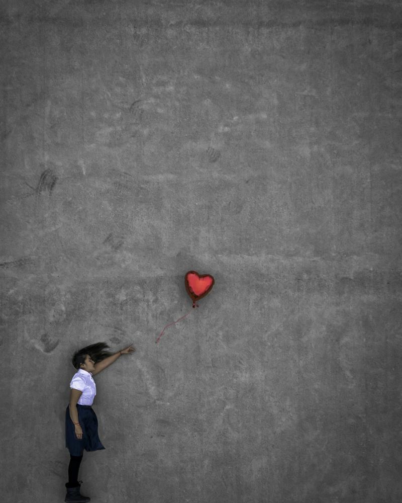 Girl With Balloon by GARY CUMMINS