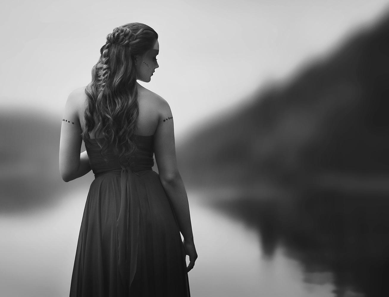 Black and white portrait on the mountain lake by Dilyana Hezhaz