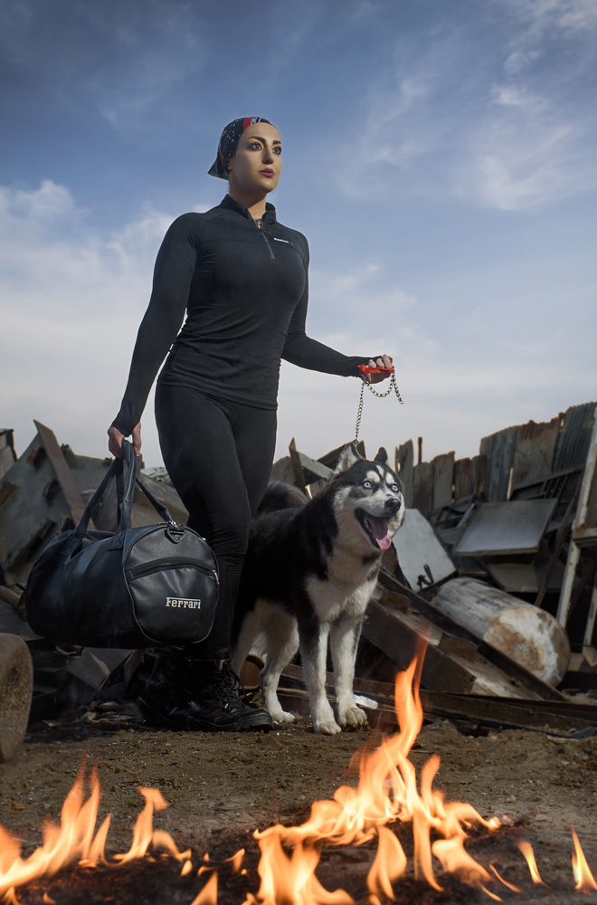 sport girl with huskey by Kurosh Zangooei