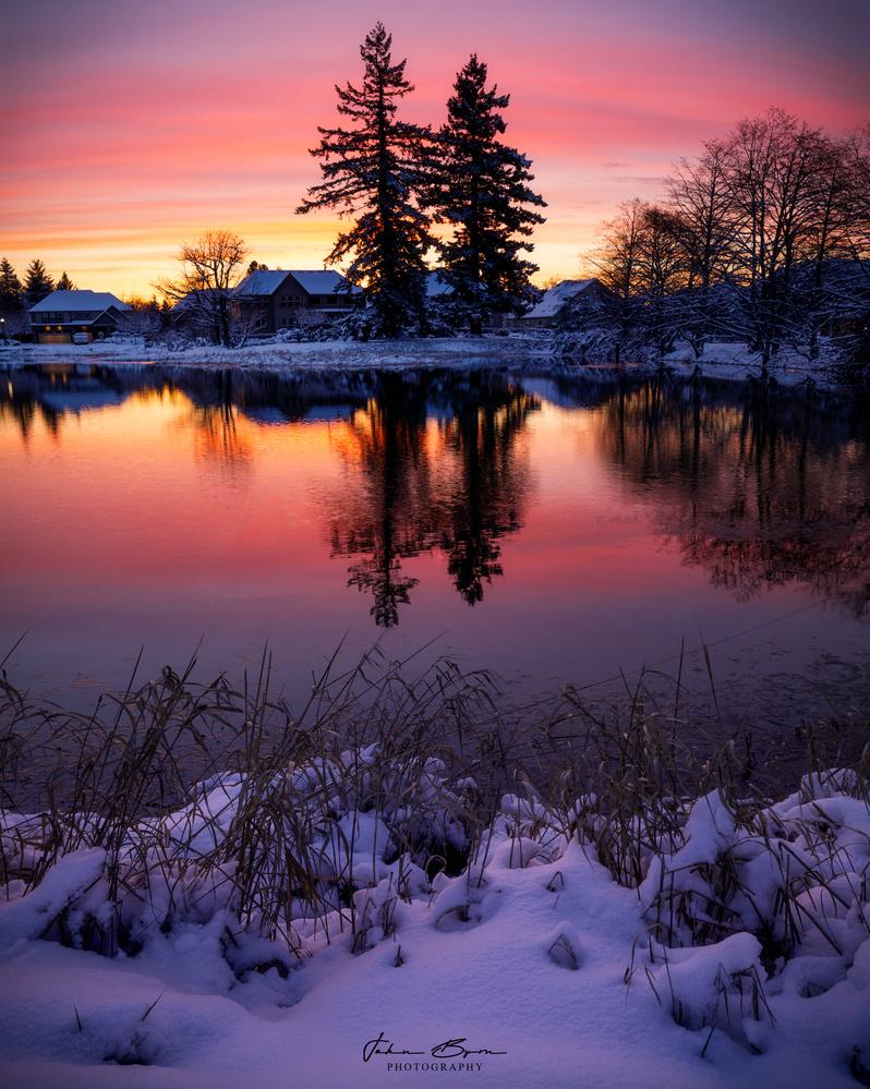 Sunrise Pond Reflection by John Byrn