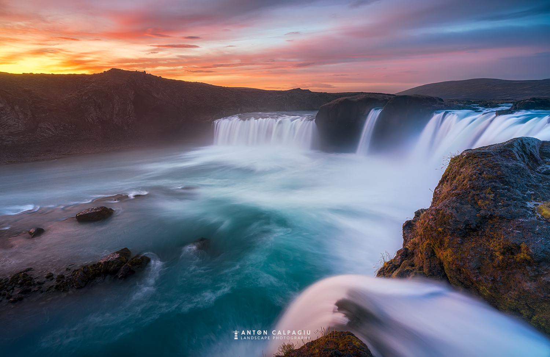 Godafoss Waterfall at sunrise. by Anton Calpagiu