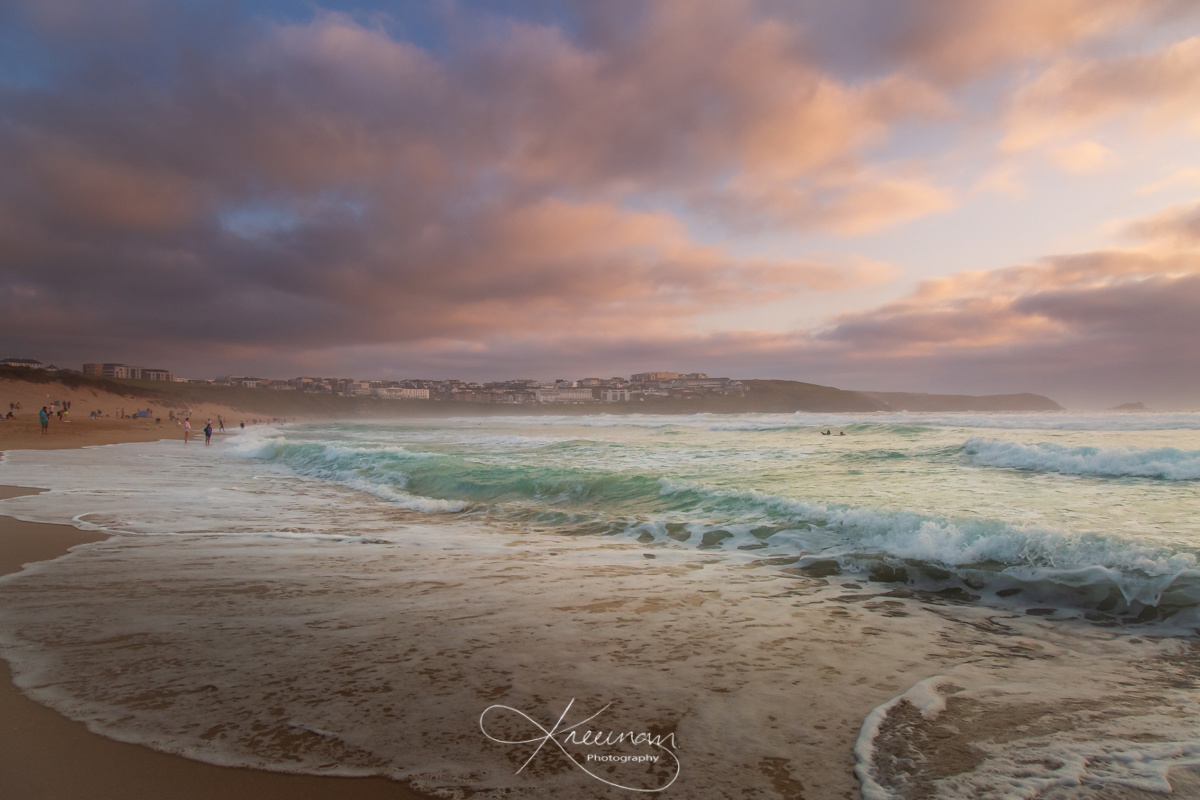 Sunset over Fistral beach, Newquay, Cornwall by Keith Newman