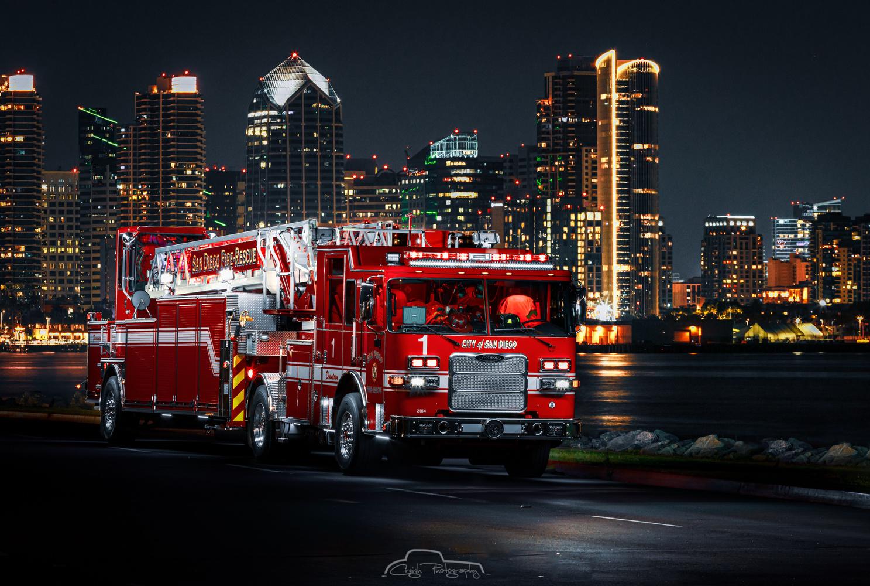 San Diego Fire Dept's Truck 1 TDA. by Creigh McIntyre