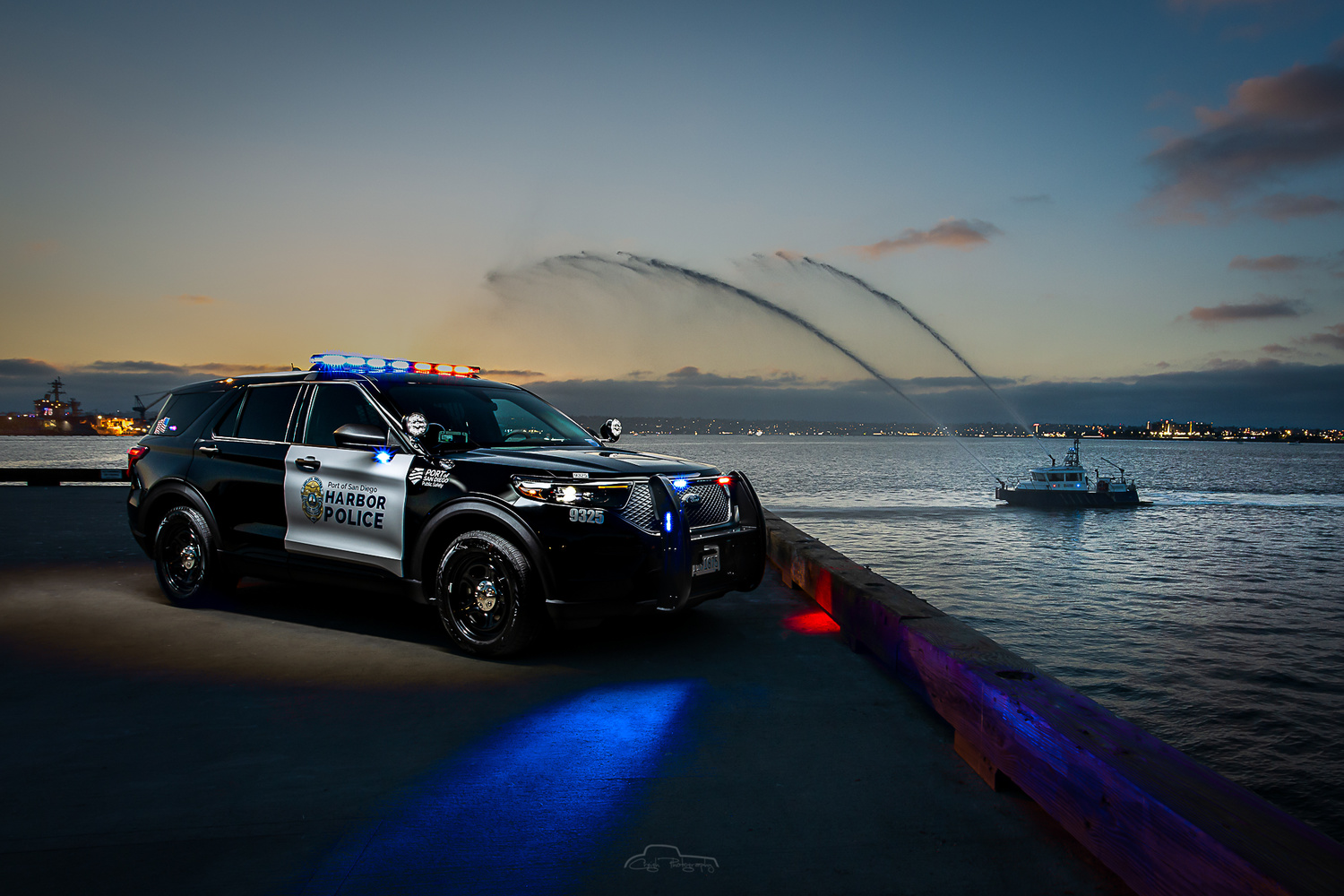 San Diego Harbor Police with Fire Boat by Creigh McIntyre