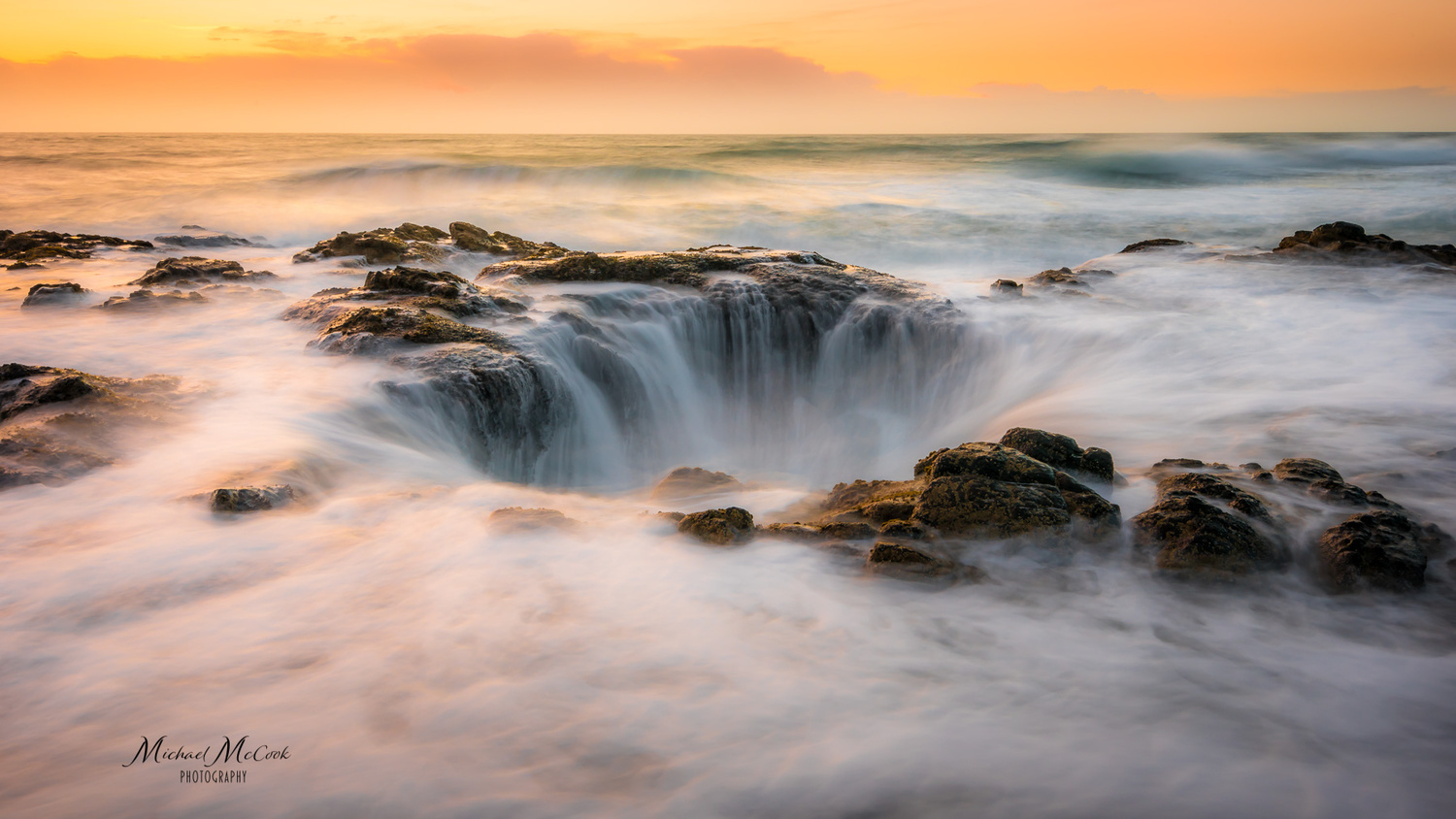 Thor's Well at Sunset by Michael McCook