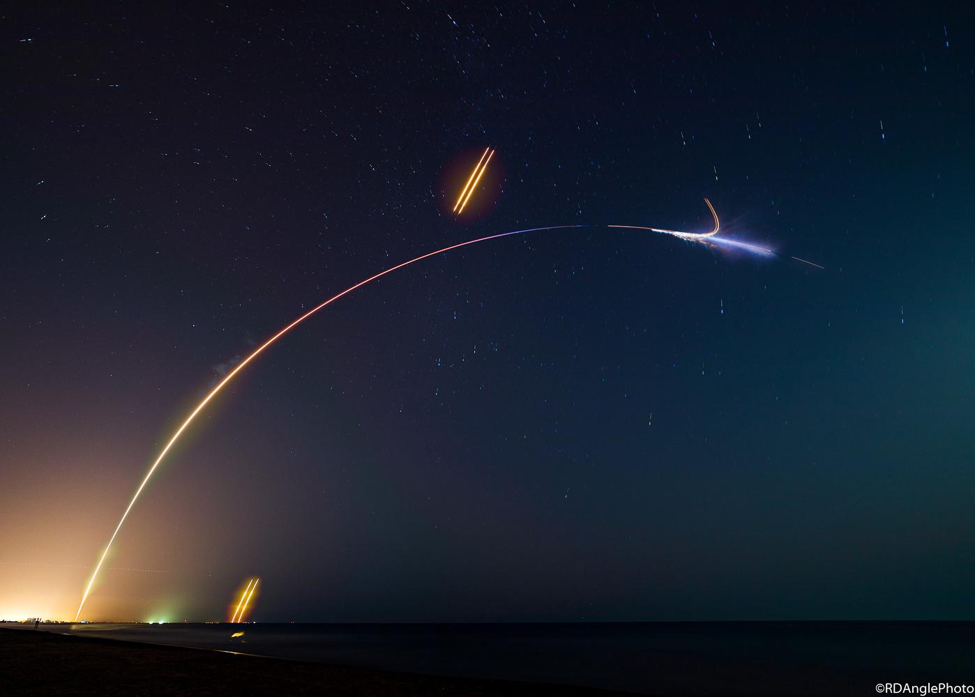 Falcon Heavy Streaks Through the Night! by Richard Angle