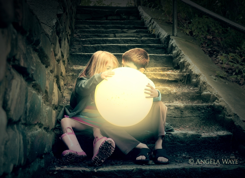 Children Holding Bright Sun on Stairs by Angela Waye
