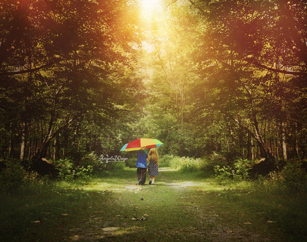 Children Walking Woods with Umbrella by Angela Waye