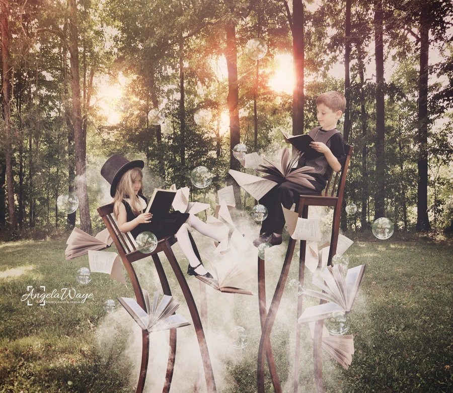 Kids Reading Book in Woods on Long Chairs by Angela Waye