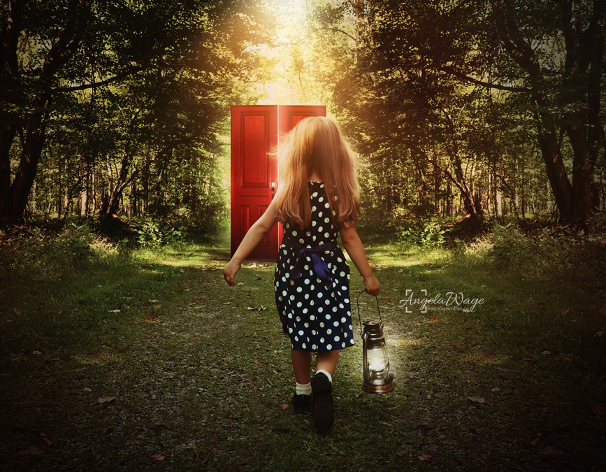 Child Walking in Woods to Glowing Red Door by Angela Waye