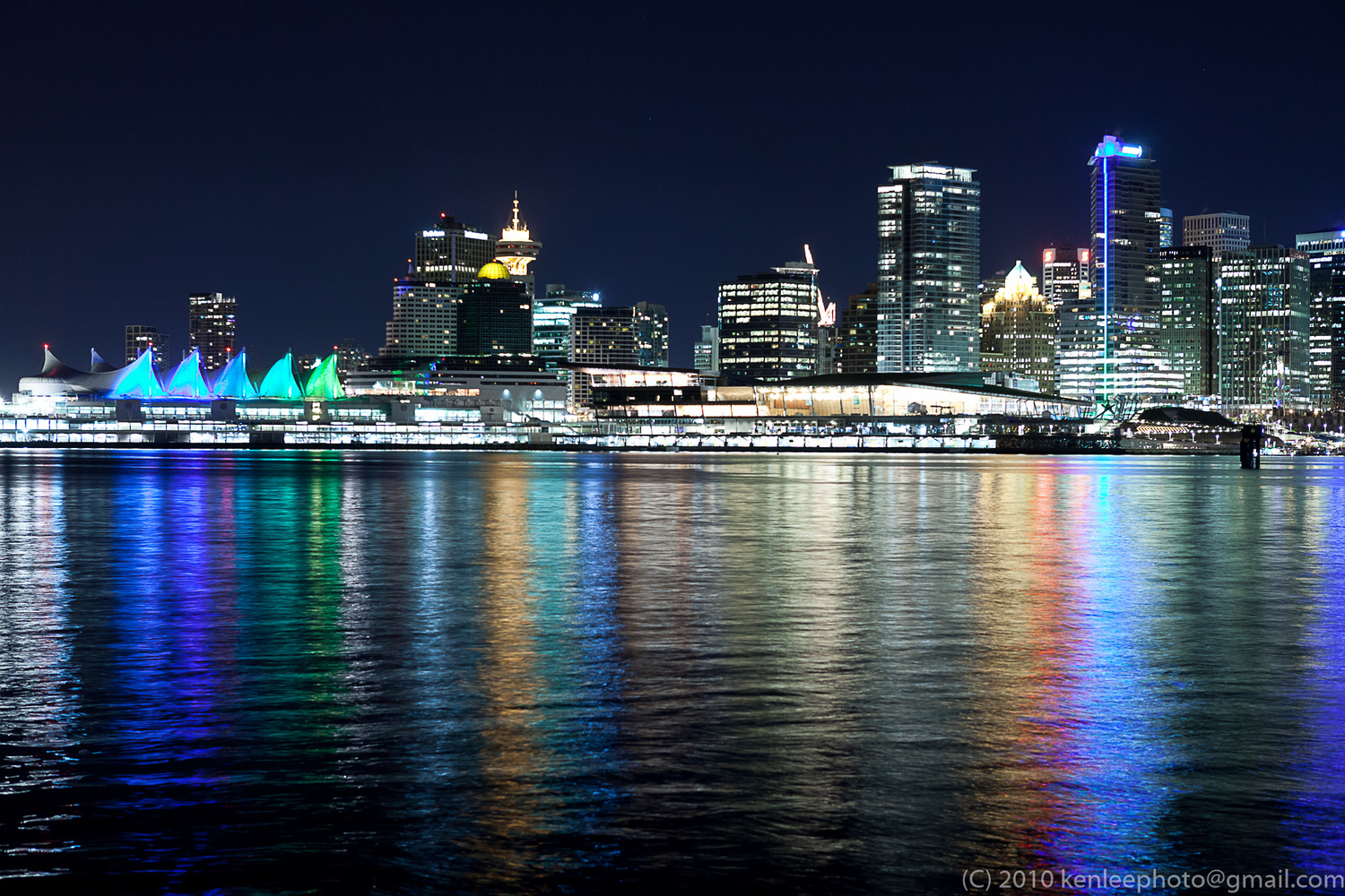 Night Lights of Canada Place and Convention Center by Kenneth Lee