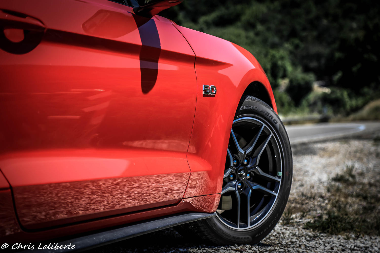 Mustang on CA road by Christopher Laliberte