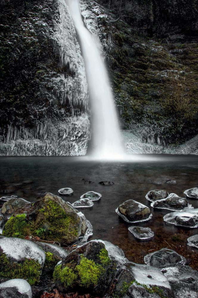 Horsetail Falls in Winter by Zach Deets