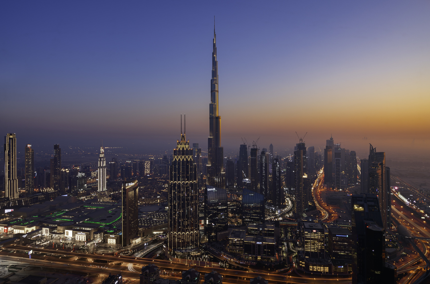 Twilight of Downtown Dubai from 75 floors up. by Ben Preece