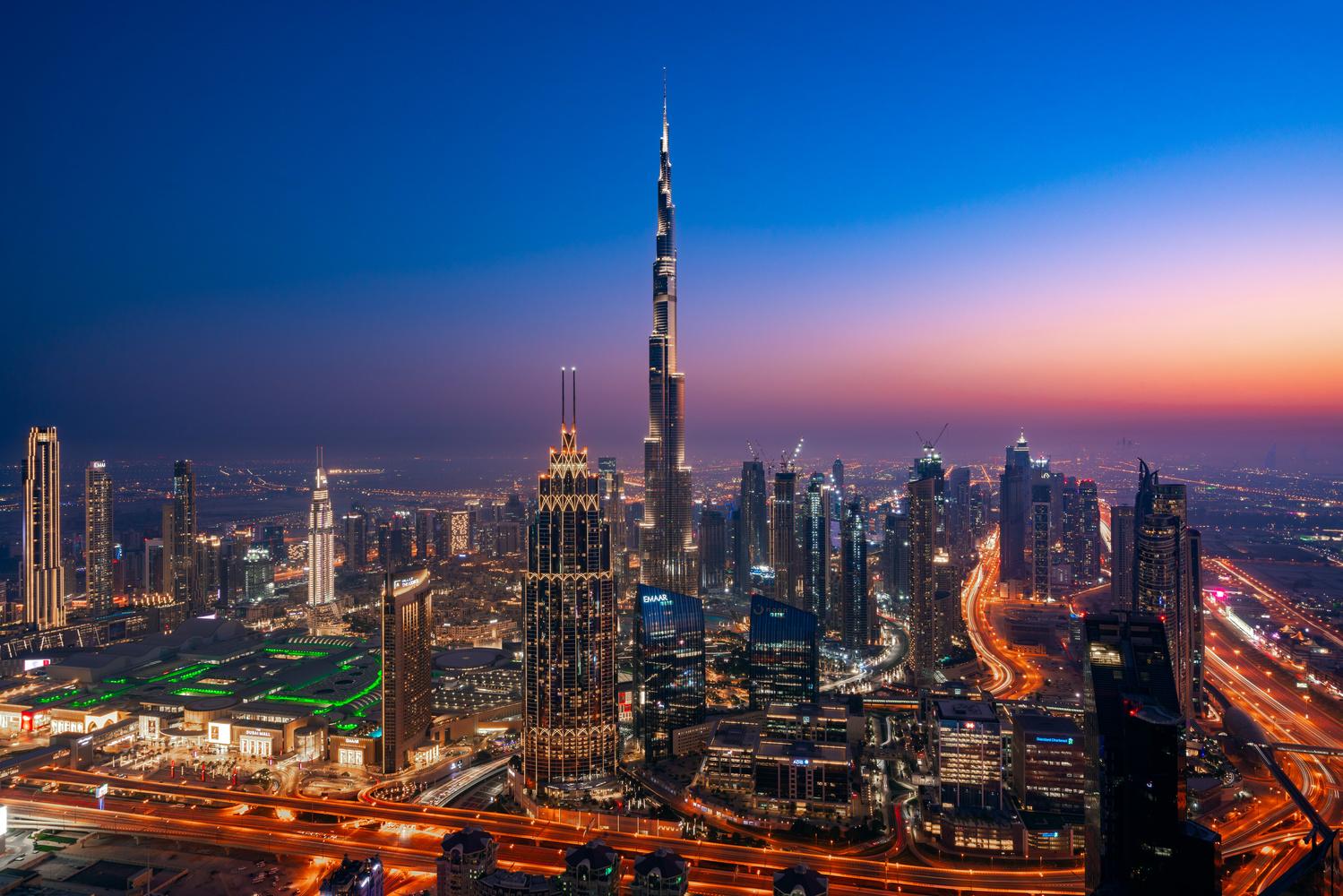 Downtown Dubai at night. by Ben Preece