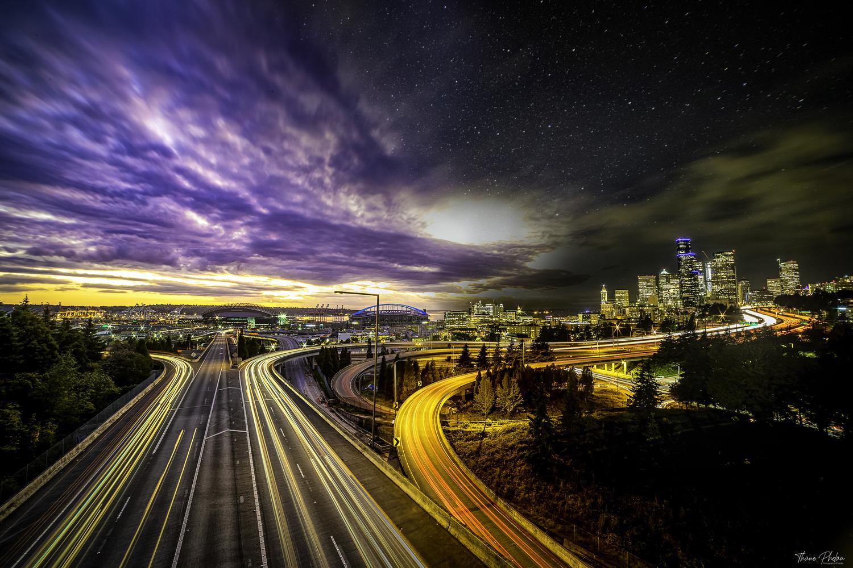 Seattle Sunset to Night by Thane Phelan