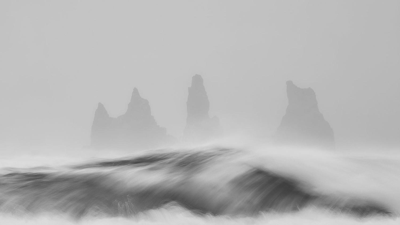 Sea stacks and waves in Vik by Paulian Prajitura