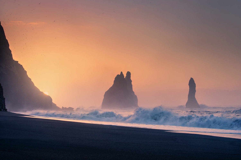 Seastacks near Vik, Iceland by Paulian Prajitura