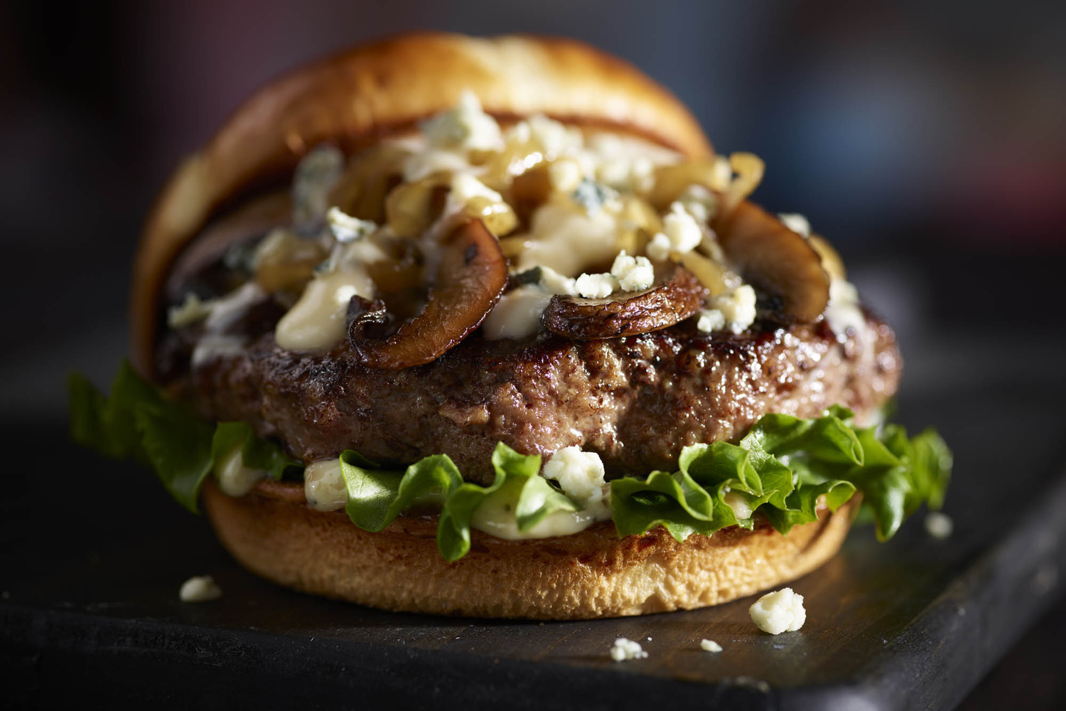 Blue cheese mushroom burger by OMS Photo