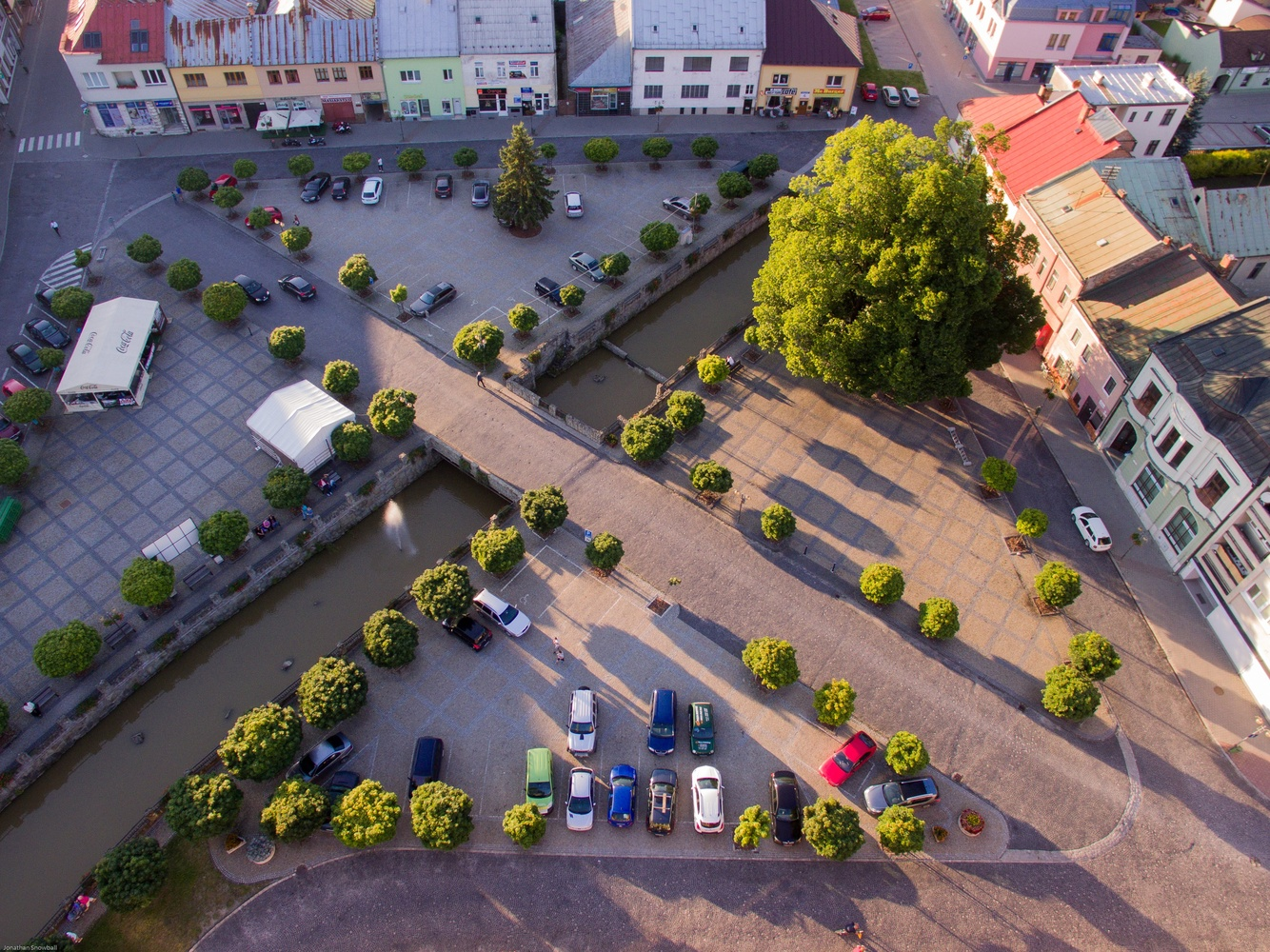 Aerial view of Slovak town center by jon snow