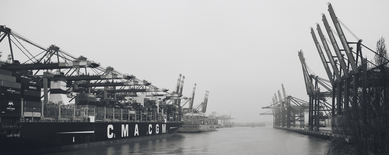 Hamburg Harbour on a foggy day by Kandid Letters