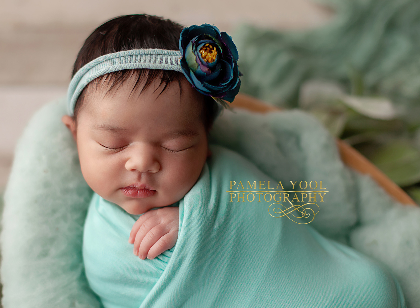 Newborn photography - Baby in Teal by Pamela Yool