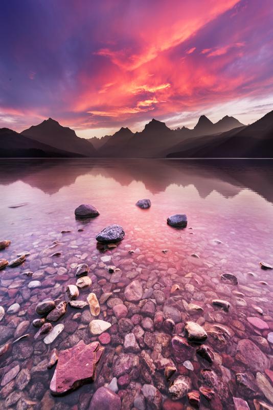 Sunset on Lake MacDonald by Stephen Liang