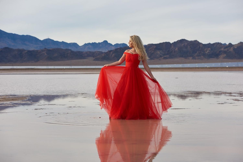 Desert Lake Red Dress by Dan Howell