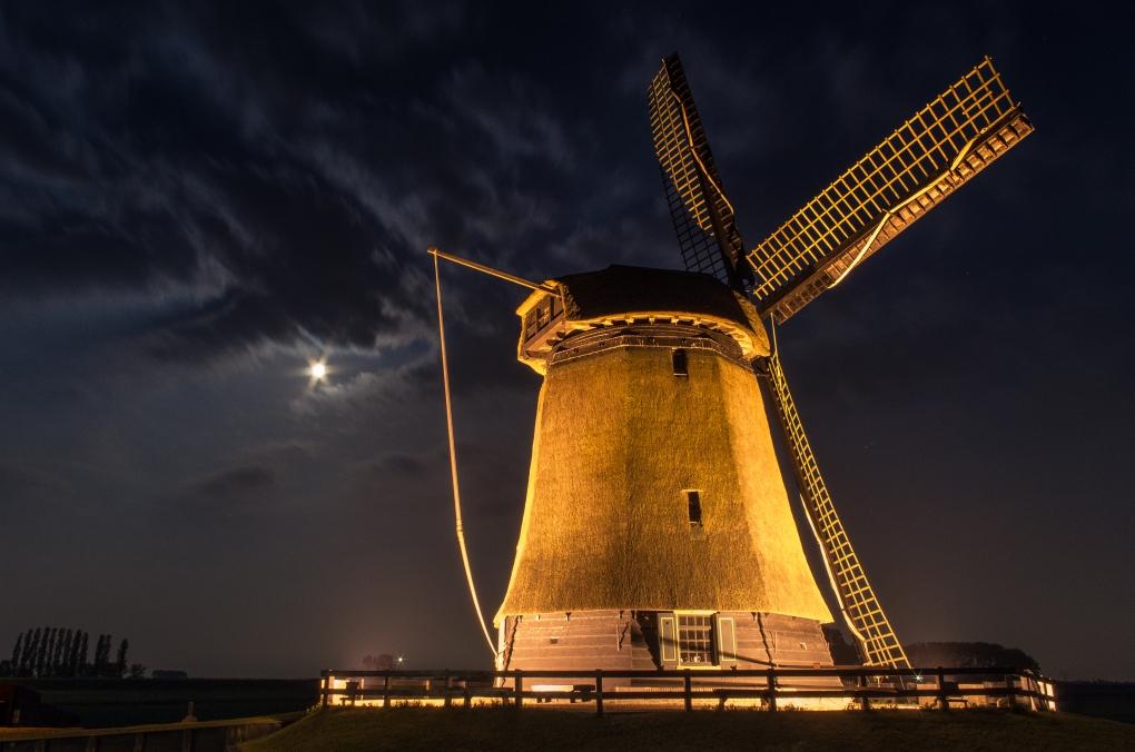 Schermer Mill by Night by Krispijn Scholte