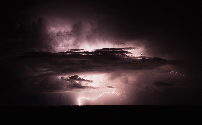 Lightning in the Baltic sea by Elvis Bekmanis