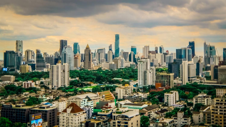 Looking West, Bangkok Skyline by bob mocarsky
