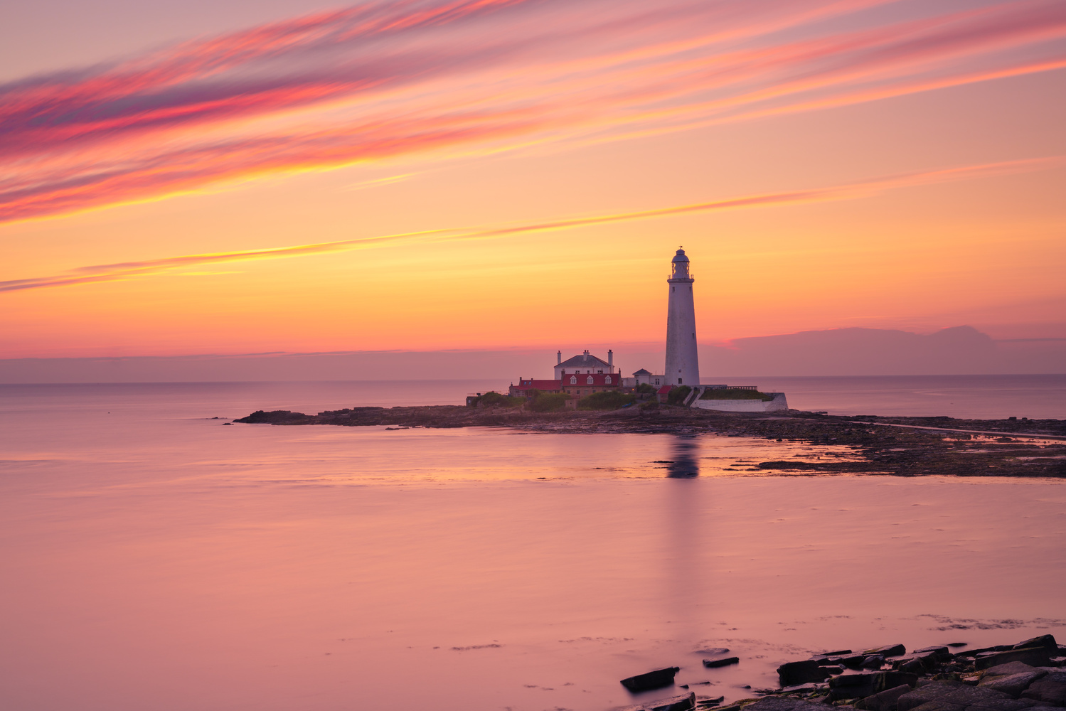 St Mary's Lighthouse Sunrise by Nigel Douglass