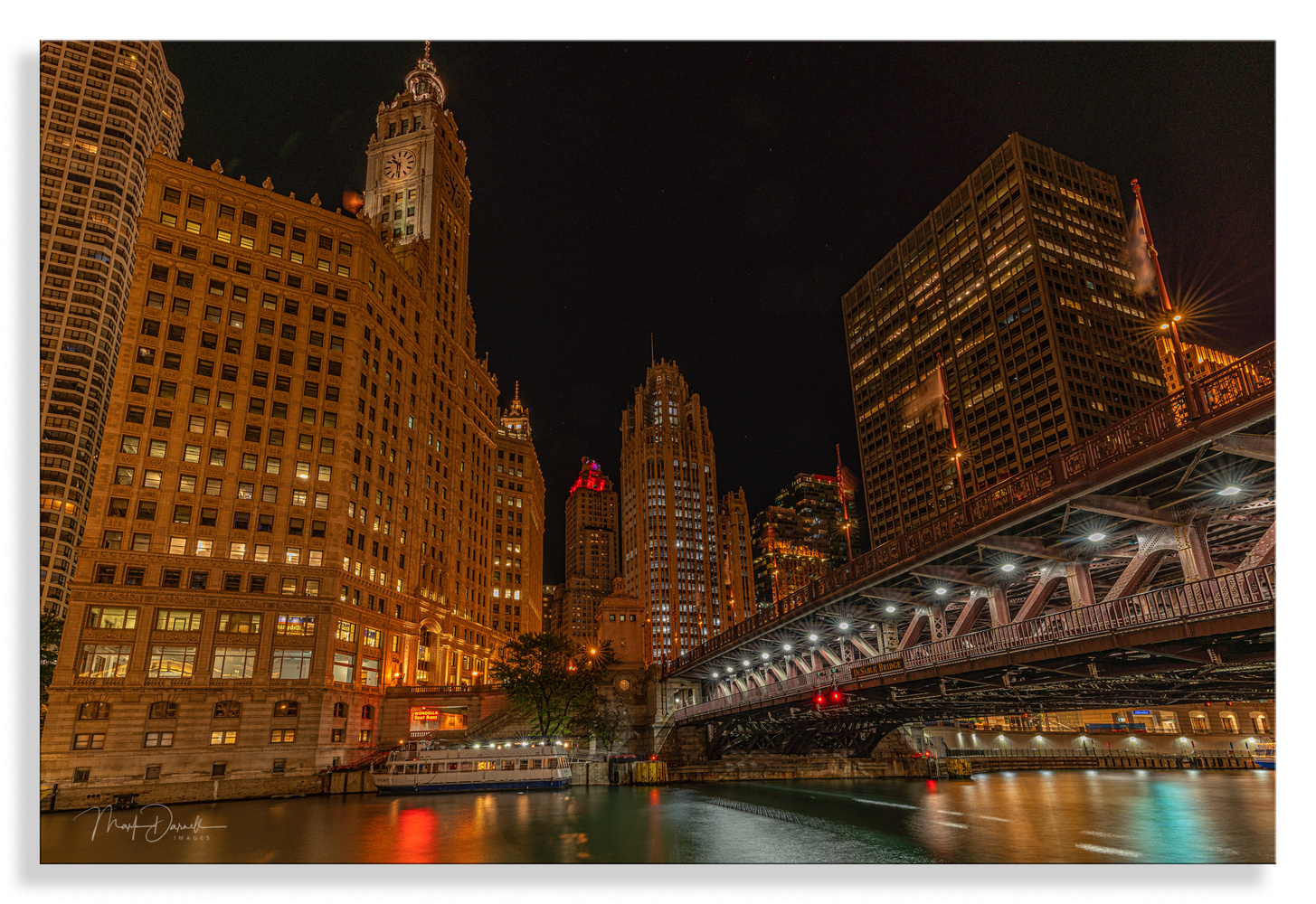 Night View At DuSable Bridge by Mark Darnell