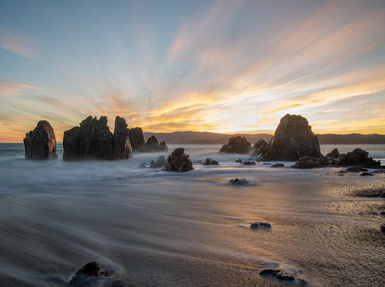 Pencarrow Head Sunset by Tom Minton