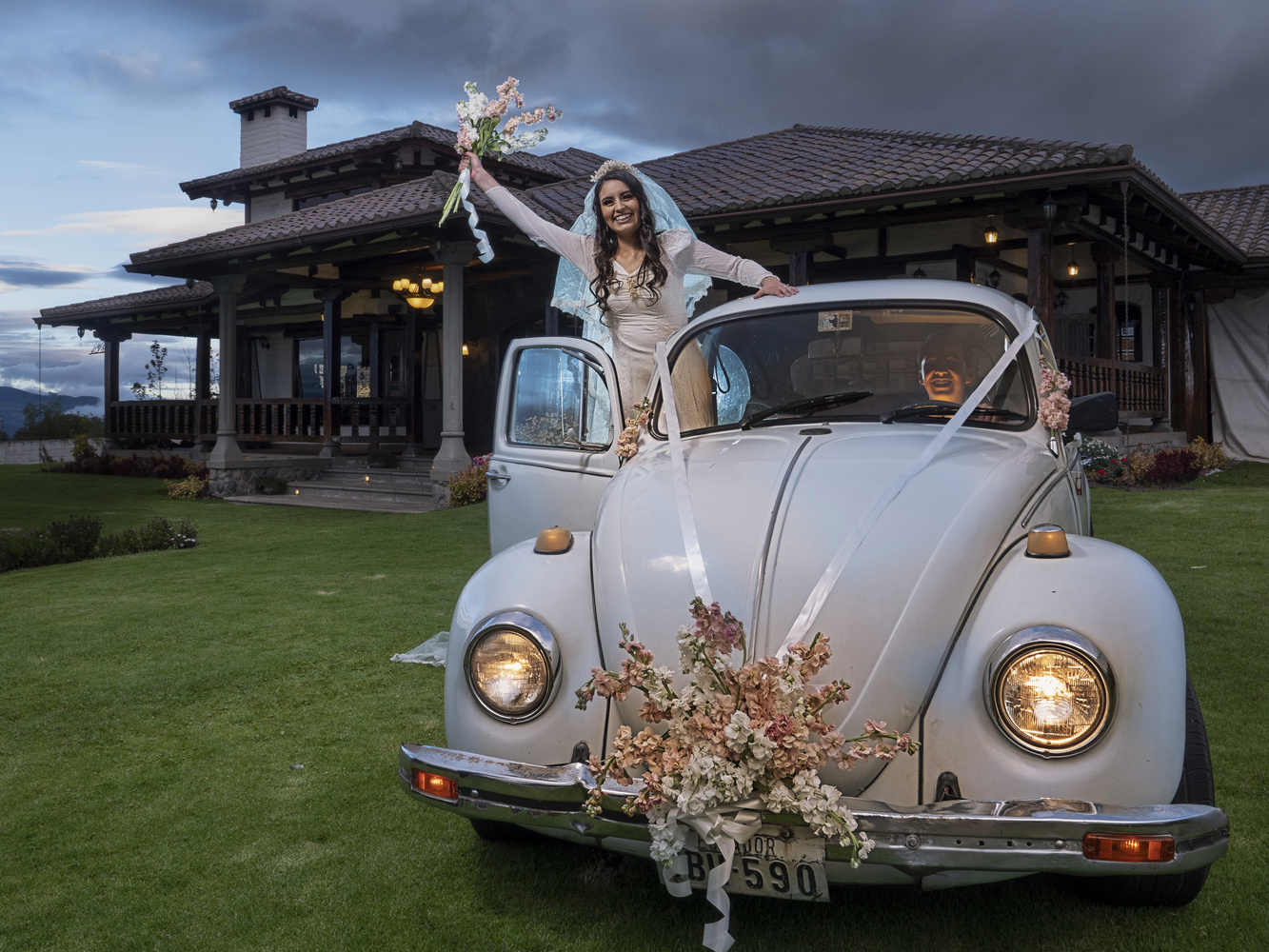 Bride with a VW Beetle by Tom Rayner