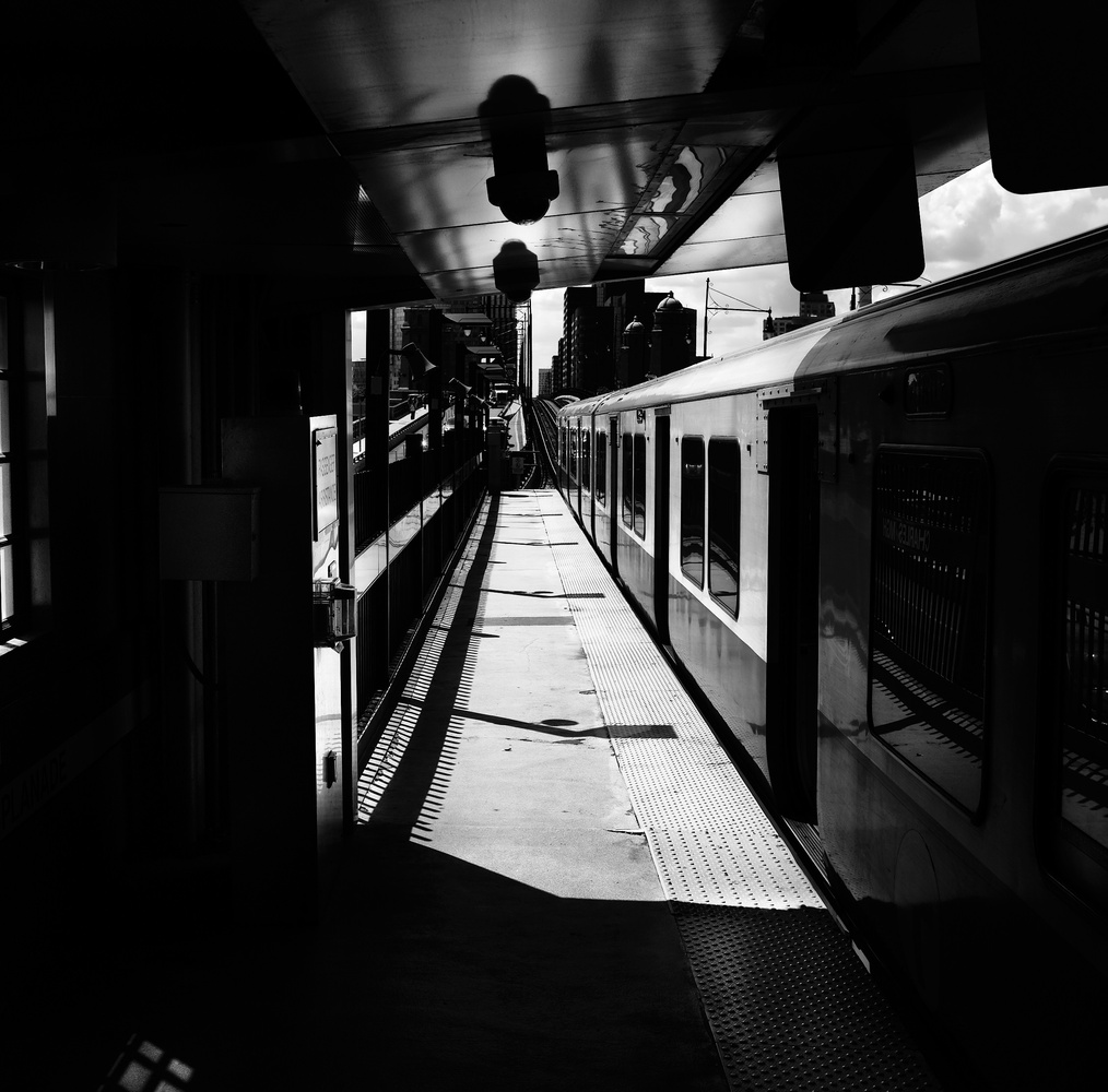 Train Station in Black and White by Matthew Teetshorn