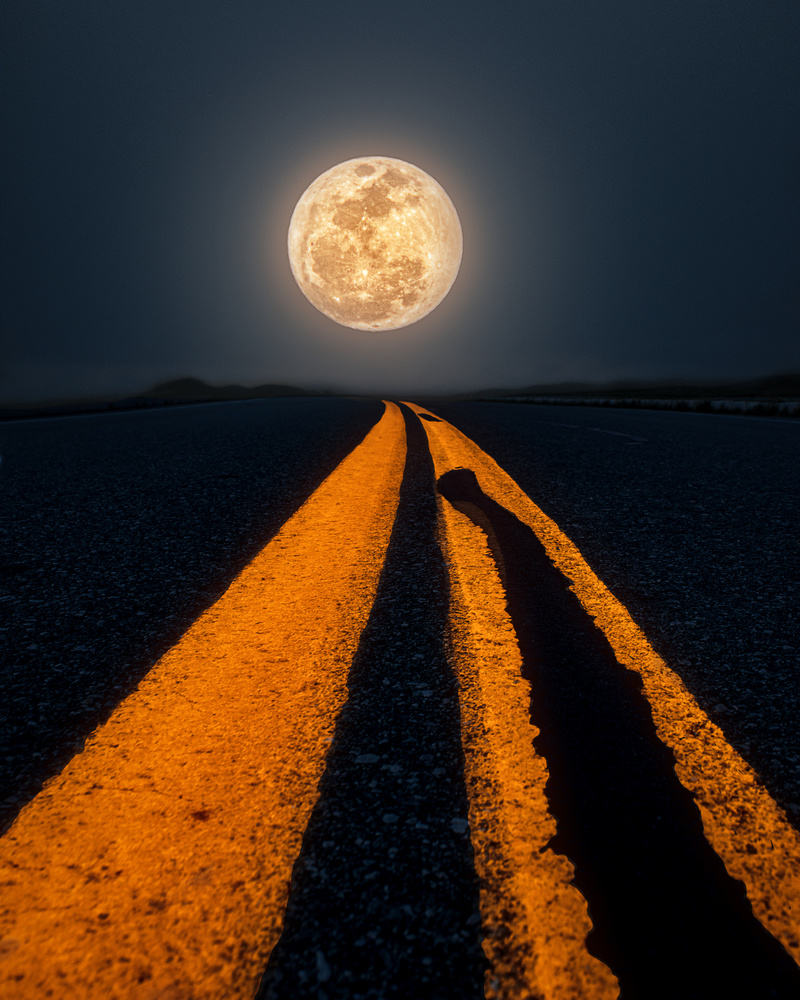 On the road for Super Pink Moon by Akshay Kokil