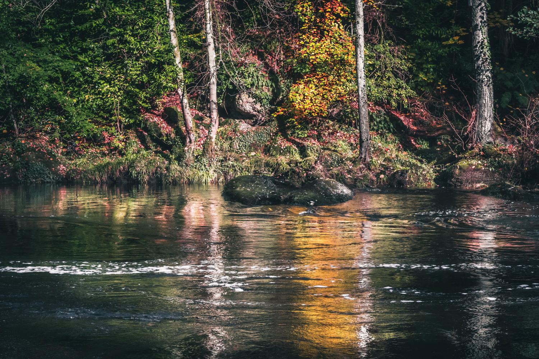 Autumn river reflections by Calum Kozma