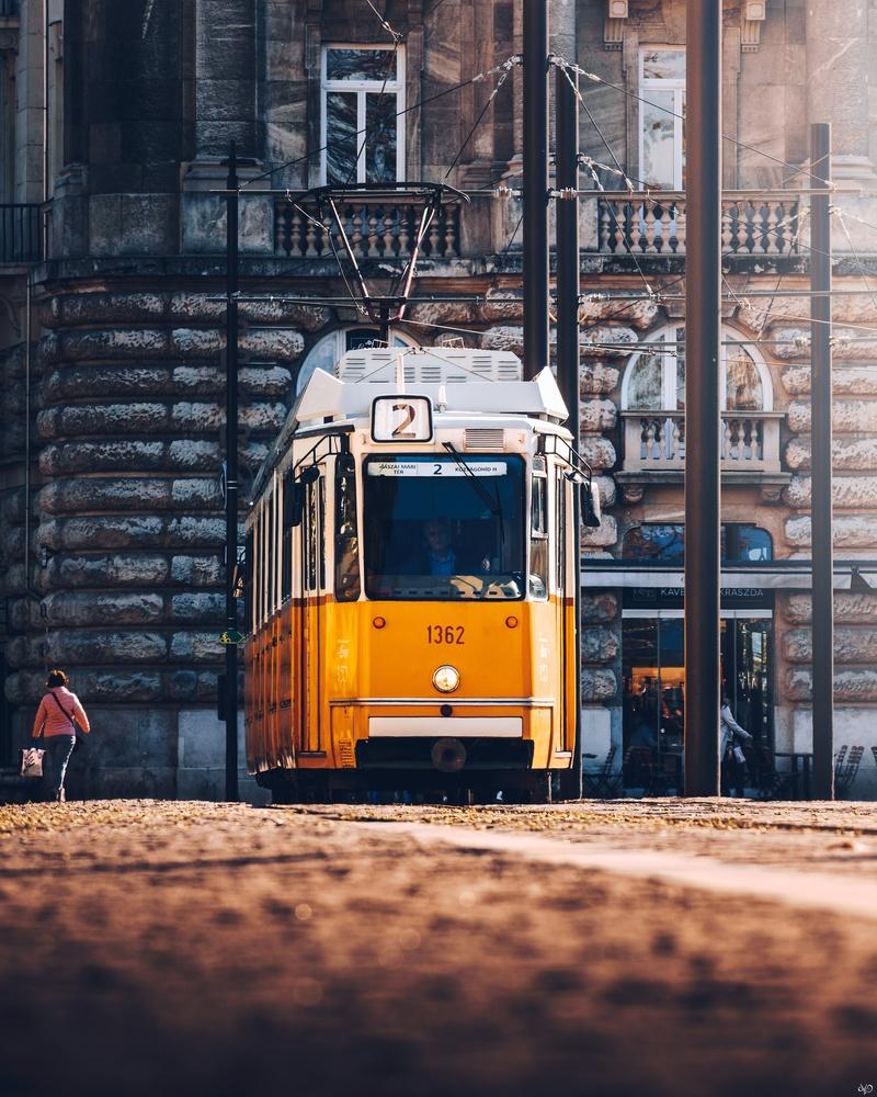 Yellow Tram, Budapest, Hungary by Nickolas Koursioumpas