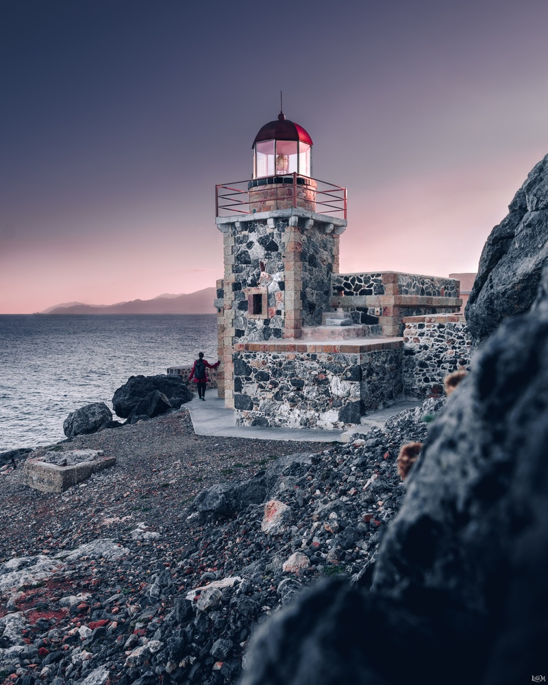 Lighthouse in Monemvasia by Lina Magoula