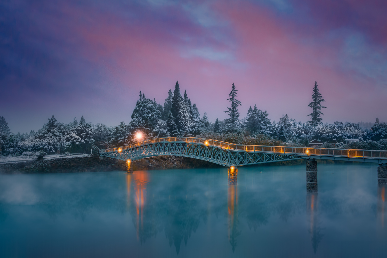 Walking Bridge of Lake Tekapo by Alex Hill