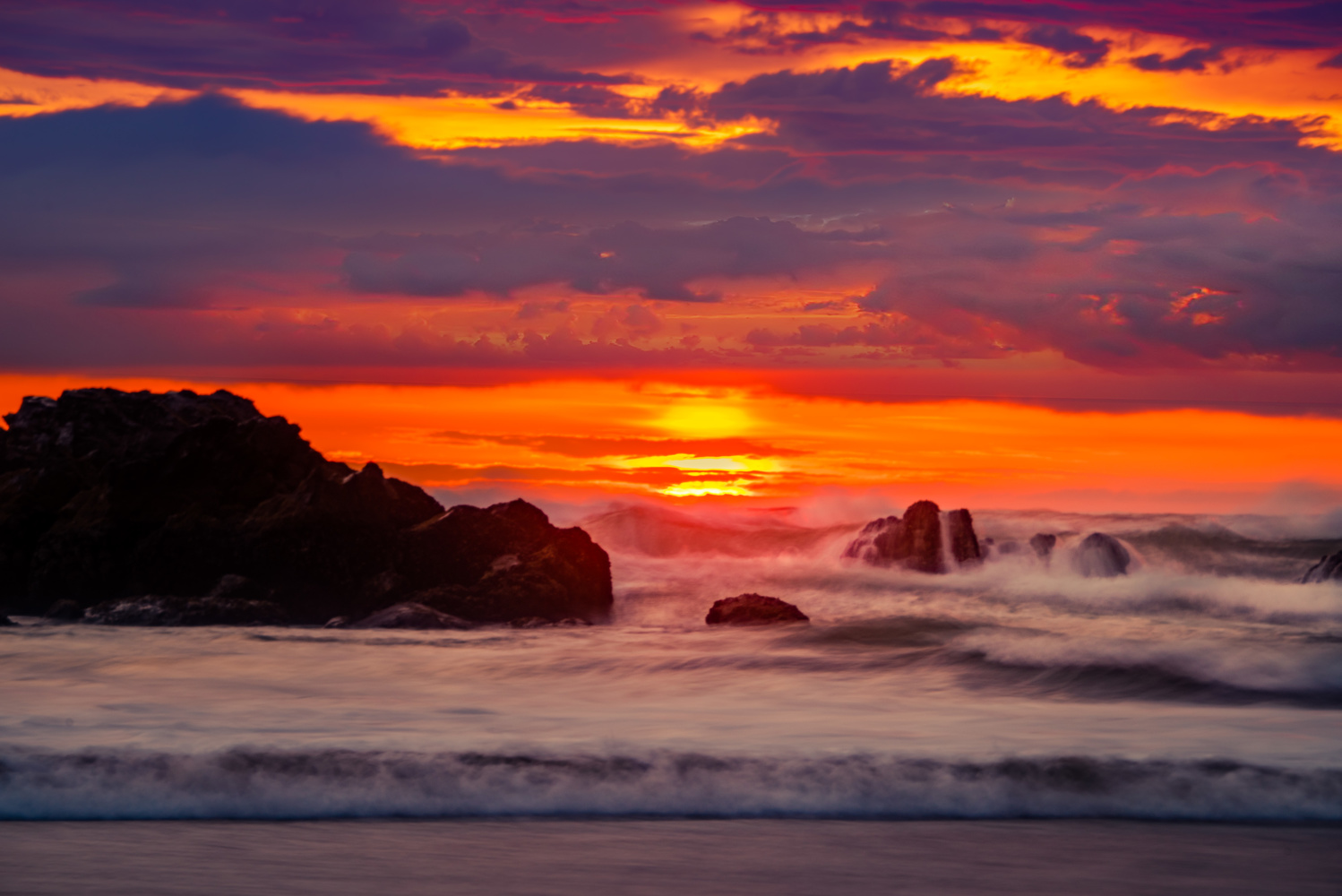 Waves at Sunset by Alex Hill