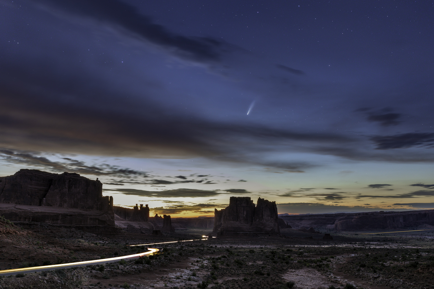 Neowise above Arches National Park by Melanie LeDuc