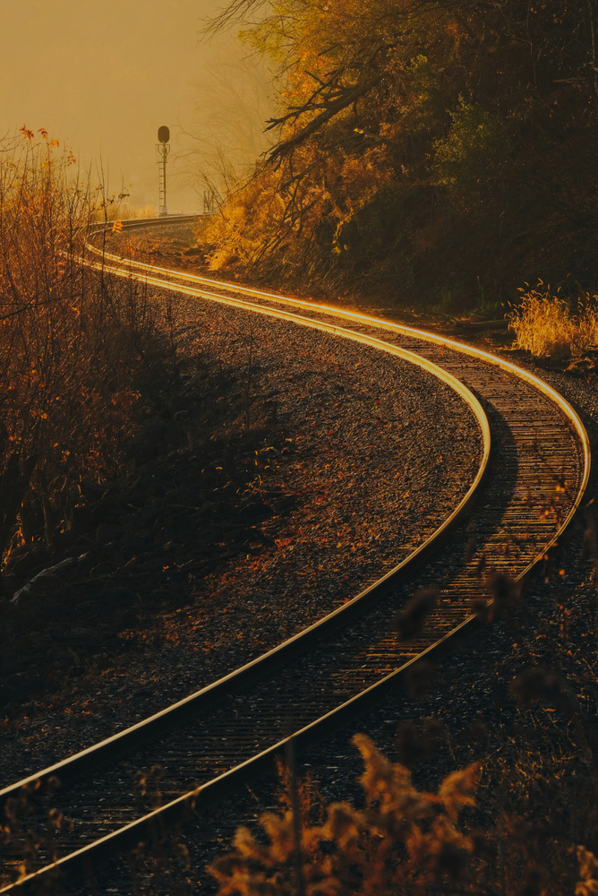 Glowing train tracks by Will Hoyer