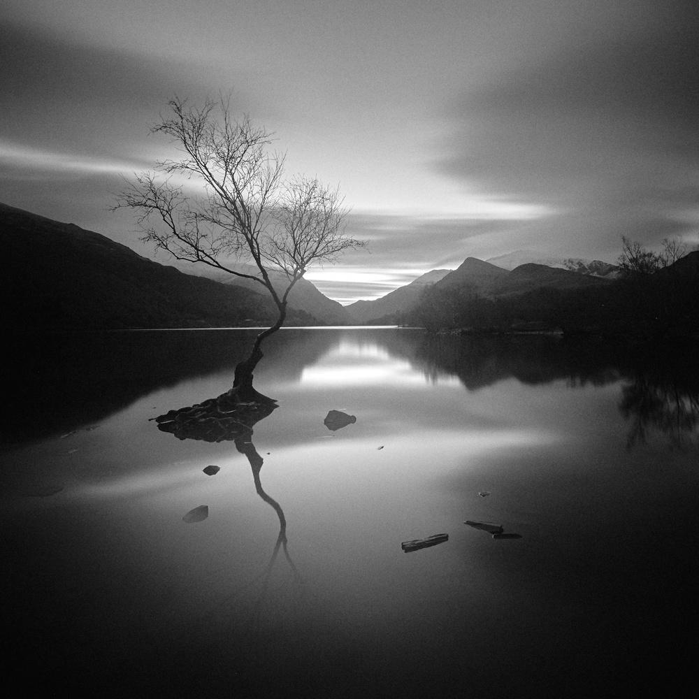 Llyn Padarn Dawn Mono by Dominic Williams